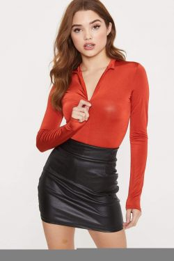 See High Neck Zip Up Front Long Sleeve Bodysuit in Rust
