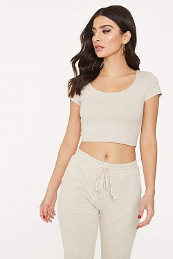 See Scoop Neck Cropped Tee in Oatmeal
