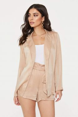 See Open Front Blazer Wrap in Taupe