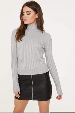 See Ribbed Knit Striped Turtleneck in Heather Grey