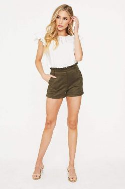 See Ruffle Waist Suede Short in Olive