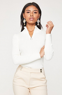 See O-Ring Half Zip Ribbed Knit Long Sleeve Top in White