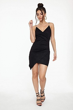 See Suede Pleated Wrap Cami Dress in Black