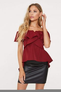 See Hi-Lo Strapless Cascading Ruffle Blouse in Wine