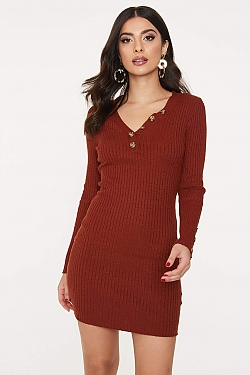 See Ribbed Knit Long Sleeve Dress with Contrast Button Detail in Rust