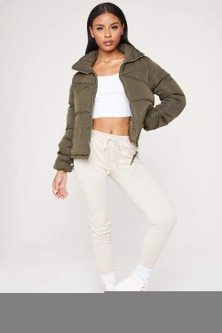 See Boxy Puffer Jacket in Olive
