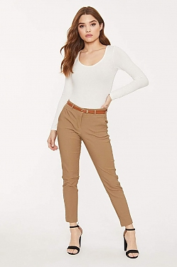 See Belted Fitted Cropped Trouser in Khaki
