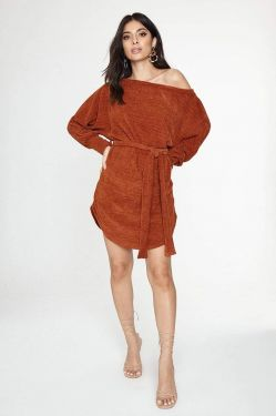 See Off The Shoulder Sweater Dress with Adjustable Waist Tie in Rust