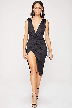See Wrapped Front Plunging Neck Midi Dress in Black