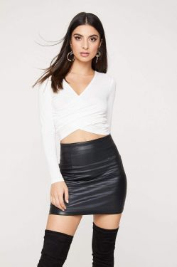See Criss Cross Draped Long Sleeve Crop Top in Off White