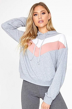 See Chevron Striped Hoodie in HeatherGrey/White/Mauve