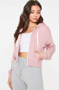 See Lightweight Fitted O-Ring Zip Up Hoodie in Dark Blush