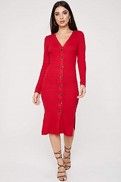 See Long Sleeve Button Down Ribbed Midi Dress in Dark Red