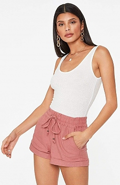 See Linen Shorts in Mauve in Mauve