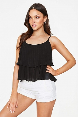 See Tiered Pleated Flounce Tank in Black