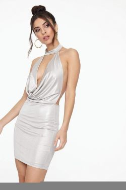 See Plunging Cowl Neck Mini Dress in Nude