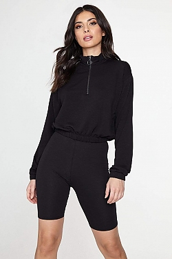 See O-Ring Half Zip Pull Over With Elastic Waistband in Black