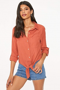 See Long Sleeve Tied Front Button Up Blouse in Navy in Rust