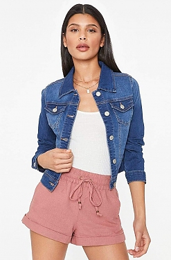 See Fitted Denim Cropped Jacket in Denim