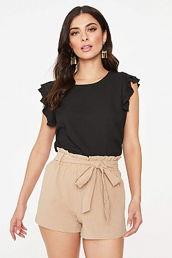 See Frill Sleeve Lightweight Blouse in Black