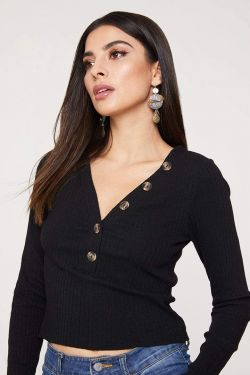 See Cropped Long Sleeve Top With Button Detail in Black