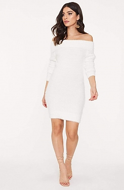 See Midi Strapless Sweater Dress in Off White