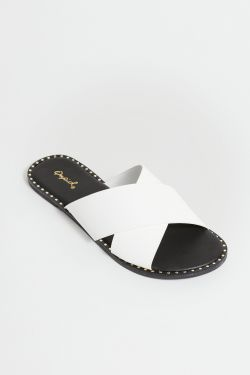 See Cross Band Mule Slide in White