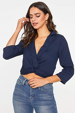 See Twist Front with Button Cuff Sleeve Blouse in Navy