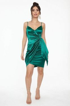 See Satin Wrap Dress With Side Sash Detail in Hunter Green
