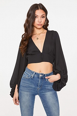 See Plunging Neck Balloon Sleeve Blouse in Black