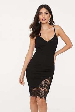 See Cami Lace Slit Detail Bodycon Dress in Black