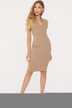See Sleeveless Princess Seam Bodycon Dress in Light Mocha