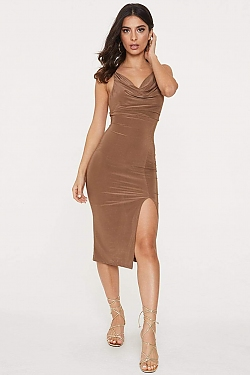 See Cowl Neck Front Slit Midi Dress in Mocha