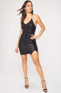 See Sparkle Criss Cross Back Mini Dress with Slit in Black
