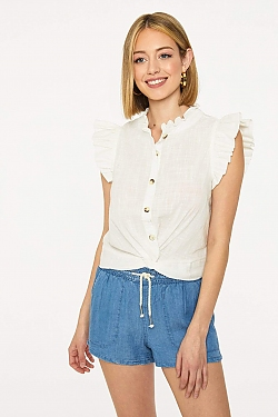 See Button Up Ruffle Sleeve Twisted Hem Blouse in Off White