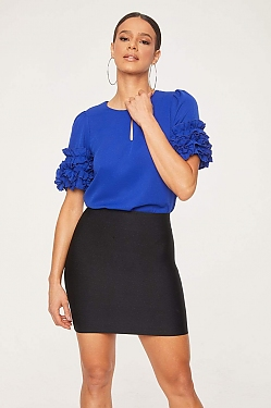 See Ruffle Sleeve Keyhole Neck Blouse in Cobalt Blue