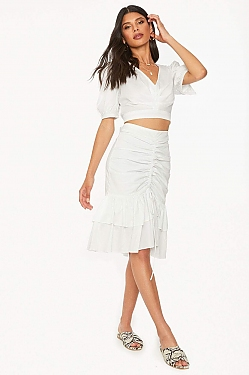See Tied Up Ruched Skirt in Off White