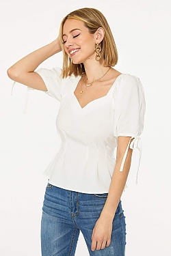 See Sweetheart Tied Sleeve Fitted Blouse in Off White