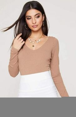 See V-Neck Long Sleeve Ribbed Bodysuit in New Taupe