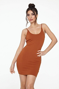 See Classic Cami Dress With Dropped Scoop Back in Red/Brown