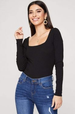 See Square Neck Long Sleeve Ribbed Top in Black