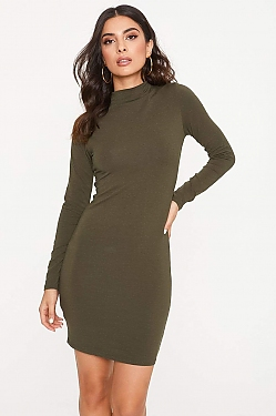 See Long Sleeve Cotton Bodycon Dress in Olive