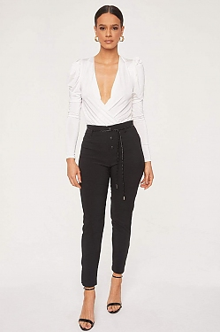 See Button Front Trouser With Braided Rope Belt in Black