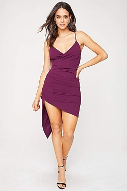 See Asymmetrical Hi-Lo Slit Mini Dress in Eggplant