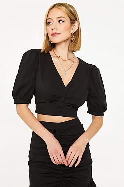 See Puff Sleeve Pleated Front Cropped Blouse in Black in Black