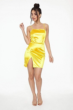 See Shiny Satin Cami Dress With Front Slit in Mustard