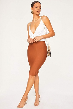 See Bodycon Pencil Skirt in Coffee