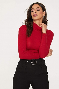 See Tight Ribbed Knit Turtleneck in Deep Red