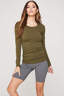 See Basic Scoop Neck Long Sleeve Top in Olive