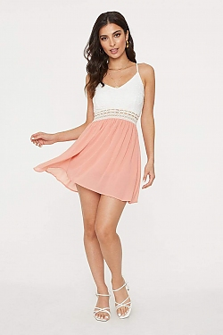 See Lace Top Crochet Waist Cami Dress in Peach